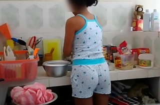 Real brother foreplay with stepsister at one's disposal Kitchen