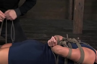 BDSM sub India Summer exposed to floor tied up